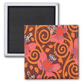 Colorful Abstract Brown Twirls Pink Butterflies Magnet