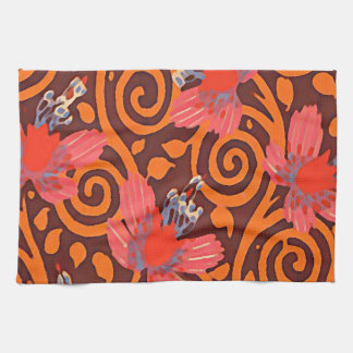 Colorful Abstract Brown Twirls Pink Butterflies Tea Towel