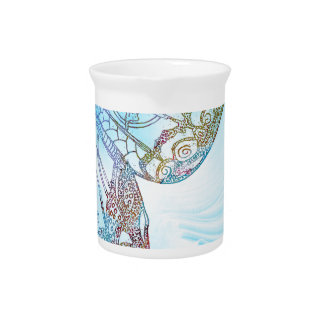 Colorful Abstract Butterfly Design Pitcher