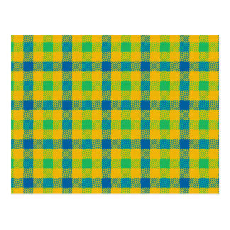 Colorful abstract checkered pattern postcard