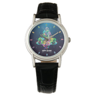 Colorful Abstract Christmas Tree Women's Watch