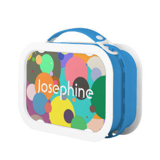 Colorful abstract circles blue lunchbox for kids