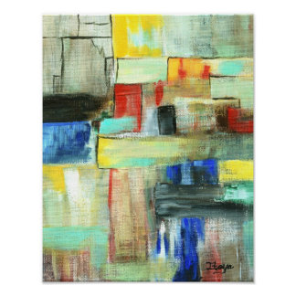 Colorful Abstract Cityscape Original Art Painting Poster
