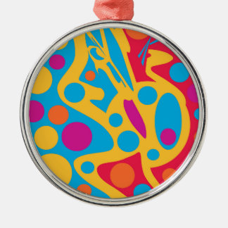 Colorful abstract decor Silver-Colored round decoration