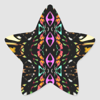 Colorful Abstract Design Digital Pattern Art Star Sticker