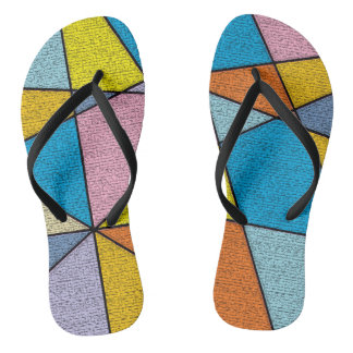 Colorful Abstract Design Fun Flip Flops
