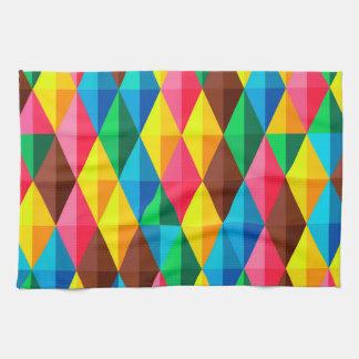 Colorful Abstract Diamond Shape Background Tea Towel