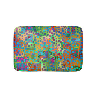 Colorful Abstract Digital Art with Squares Bath Mats