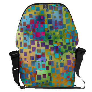 Colorful Abstract Digital Art with Squares Messenger Bag