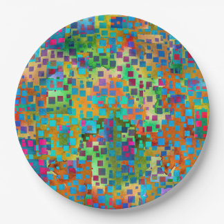 Colorful Abstract Digital Art with Squares Paper Plate