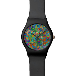 Colorful Abstract Digital Art with Squares Watch