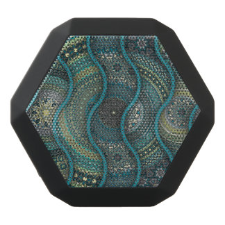 Colorful abstract ethnic floral mandala pattern black bluetooth speaker