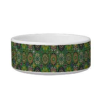 Colorful abstract ethnic floral mandala pattern cat bowls