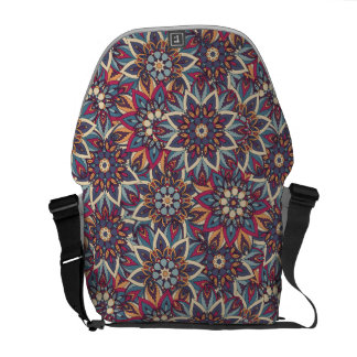 Colorful abstract ethnic floral mandala pattern commuter bags