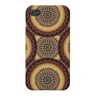 Colorful abstract ethnic floral mandala pattern covers for iPhone 4