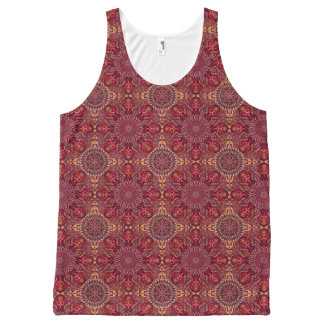 Colorful abstract ethnic floral mandala pattern de All-Over print singlet