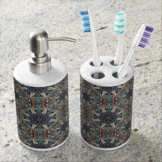 Colorful abstract ethnic floral mandala pattern de bathroom set