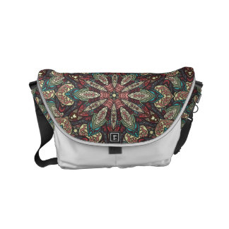 Colorful abstract ethnic floral mandala pattern de commuter bags
