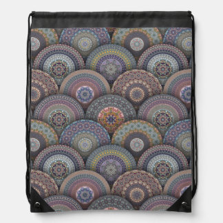 Colorful abstract ethnic floral mandala pattern de drawstring bag