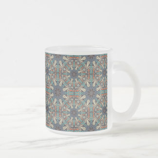 Colorful abstract ethnic floral mandala pattern de frosted glass coffee mug