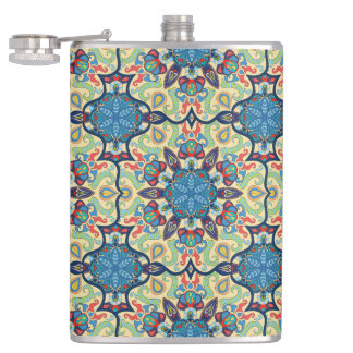 Colorful abstract ethnic floral mandala pattern de hip flask