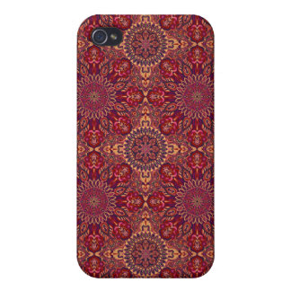 Colorful abstract ethnic floral mandala pattern de iPhone 4 case