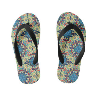 Colorful abstract ethnic floral mandala pattern de kid's thongs