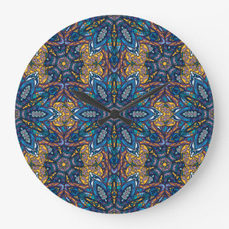 Colorful abstract ethnic floral mandala pattern de large clock