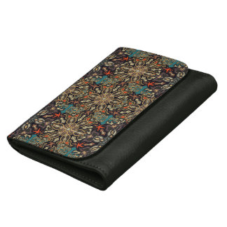 Colorful abstract ethnic floral mandala pattern de leather wallet