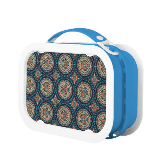 Colorful abstract ethnic floral mandala pattern de lunch box