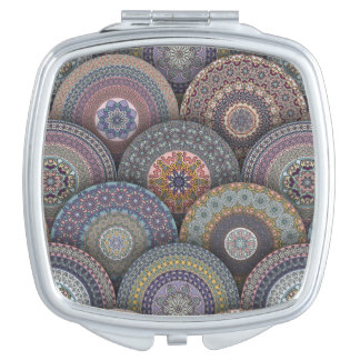 Colorful abstract ethnic floral mandala pattern de makeup mirrors