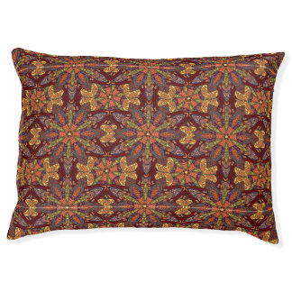 Colorful abstract ethnic floral mandala pattern de pet bed