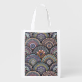 Colorful abstract ethnic floral mandala pattern de reusable grocery bag