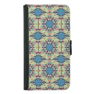 Colorful abstract ethnic floral mandala pattern de samsung galaxy s5 wallet case