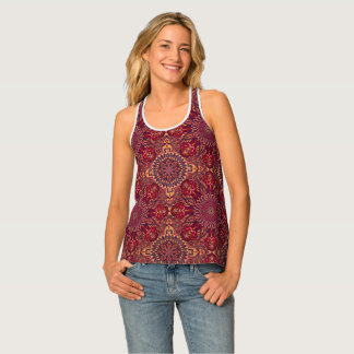 Colorful abstract ethnic floral mandala pattern de singlet