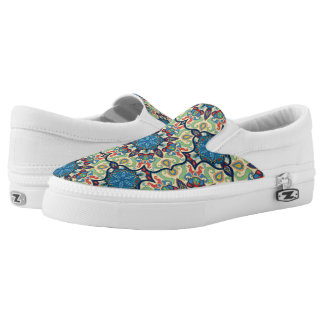 Colorful abstract ethnic floral mandala pattern de slip on shoes