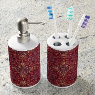 Colorful abstract ethnic floral mandala pattern de soap dispenser and toothbrush holder