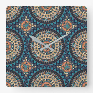 Colorful abstract ethnic floral mandala pattern de square wall clock