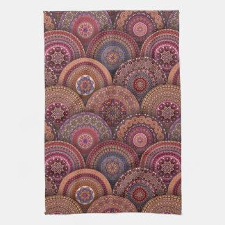Colorful abstract ethnic floral mandala pattern de tea towel