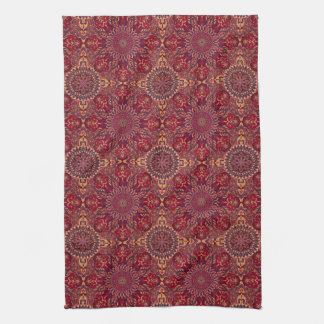 Colorful abstract ethnic floral mandala pattern de tea towel