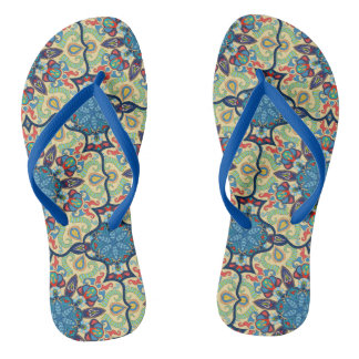 Colorful abstract ethnic floral mandala pattern de thongs