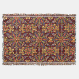 Colorful abstract ethnic floral mandala pattern de throw blanket