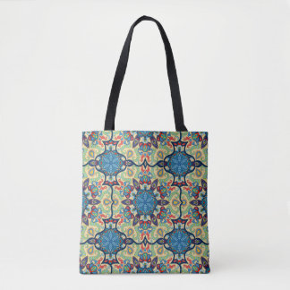 Colorful abstract ethnic floral mandala pattern de tote bag