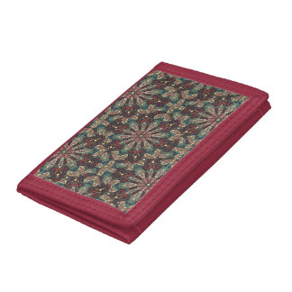 Colorful abstract ethnic floral mandala pattern de tri-fold wallet