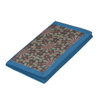 Colorful abstract ethnic floral mandala pattern de trifold wallet