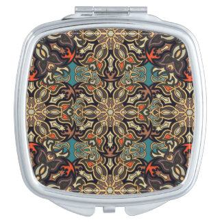 Colorful abstract ethnic floral mandala pattern de vanity mirror