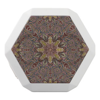 Colorful abstract ethnic floral mandala pattern de white bluetooth speaker