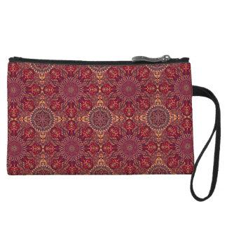 Colorful abstract ethnic floral mandala pattern de wristlet