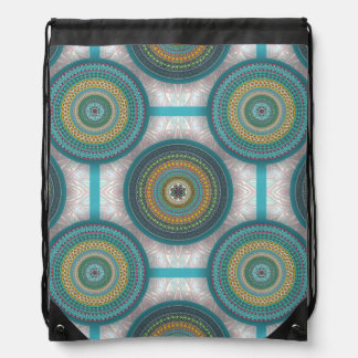 Colorful abstract ethnic floral mandala pattern drawstring bag