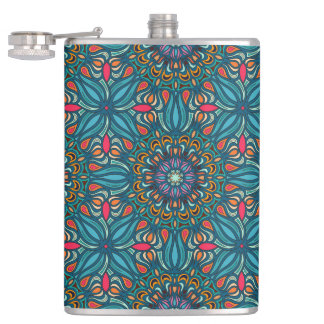 Colorful abstract ethnic floral mandala pattern hip flask